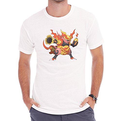 Pokemon Nidoran Poison Ground Fire Butning Herren T-Shirt Weiß