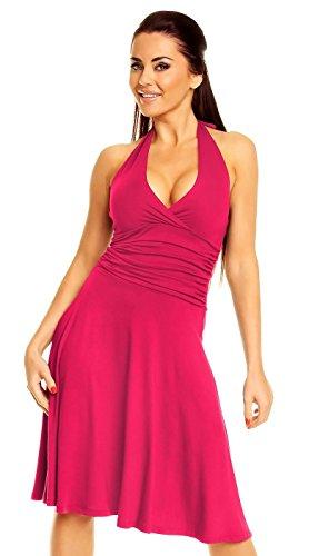 zeta-ville-mujer-cintura-lisonjero-sin-mangas-cuello-halter-vestido-145z-fucsia-eu-38-m
