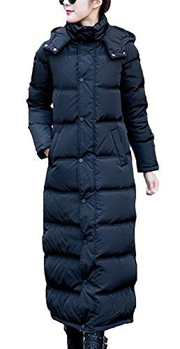 Lukis Damen Lange Daunenjacke Daunen Mantel mit Kapuze Winter Schwarz Brust 115cm