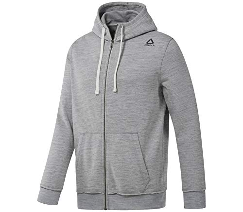 Reebok Herren Elements Marble Melange Full-Zip Hoodie Laufbekleidung Sweatjacke Hellgrau - Weiß XL - Element Full Zip Sweatshirt