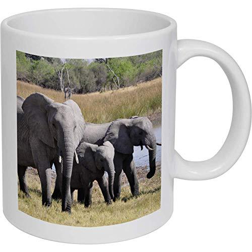Azeeda 320ml 'Elefantes' Taza de Ceramica (MG00005193)
