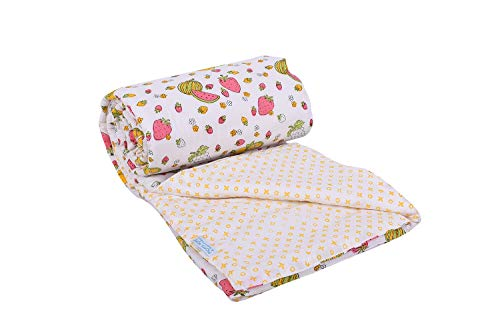 Mom's Home Organic Cotton Super Soft Summer AC Baby Quilt Blanket Cum Bedspread - 0-3 Years - 110 * 120 Cms - Fruits Yellow