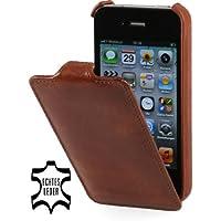 StilGut UltraSlim Case, Tasche aus Leder für Apple iPhone 4 & iPhone 4s, Cognac