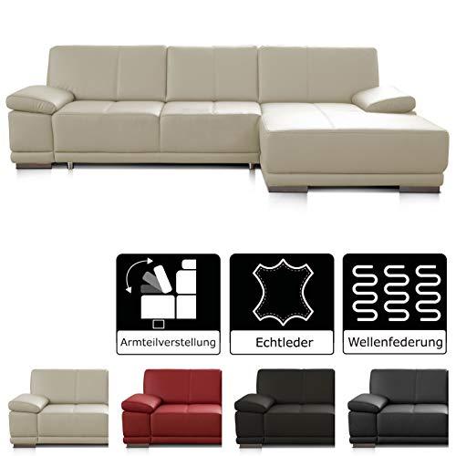 CAVADORE Ecksofa Corianne / Ledercouch in modernem Design / Inkl. beidseitiger Armteilverstellung und Longchair rechts / 282 x 80 x 162 / Echtleder weiß -