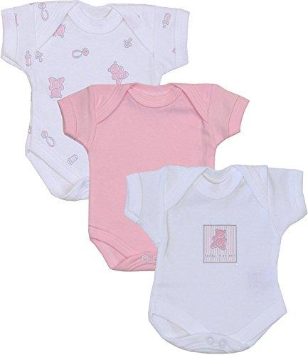 BabyPrem Frühchen Baby Mädchen Kleidung Packung Mit 3 Bodys Strampelanzüge ROSA TEDDY P1
