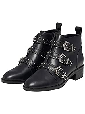 ONLY Black Booties Studs and Buckles Bright by (36 - Black)