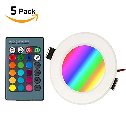 BLOOMWIN 5PCS Foco LED empotrable de techo luz Iluminación RGB con control...