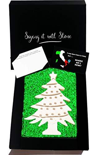 Weihnachtsbaum aus Stein - Box und Nachrichtenkarte enthalten - Handgemacht in Italien - Geschenk Geschenkidee Geburtstag Jahrestag Hochzeitstag Hochzeit Männer Frauen Mädchen Mama Papa -