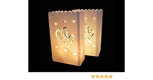 10 Papiers blanc bougie l/égers luminaire de sac en papier lanternes luminaria wei/ß:double coeur