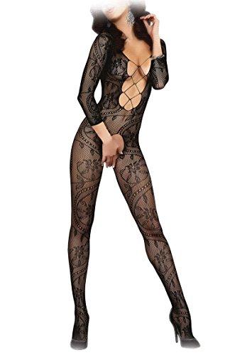 Livia Corsetti ZITA Bodystocking sexy Netz Catsuit Overall langarm offen im Schritt, S/L schwarz