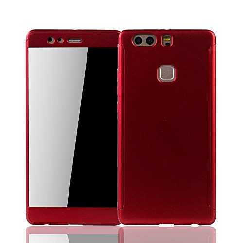 König Design Schutz-Case geeignet für Huawei P9 Plus Hülle mit Panzerglas | Sturzsichere Full Cover Handyhülle in Rot