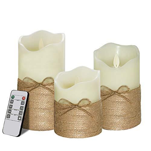 LED Kerzen,Flammenlose Kerzen Dekorations-Kerzen-Säulen im 3er Set. Realistisch flackernde LED-Flammen 10-Tasten Fernbedienung mit 24 Stunden Timer-Funktion 7.5 * 10CM/7.5 * 12.5CM/7.5 * 15CM -