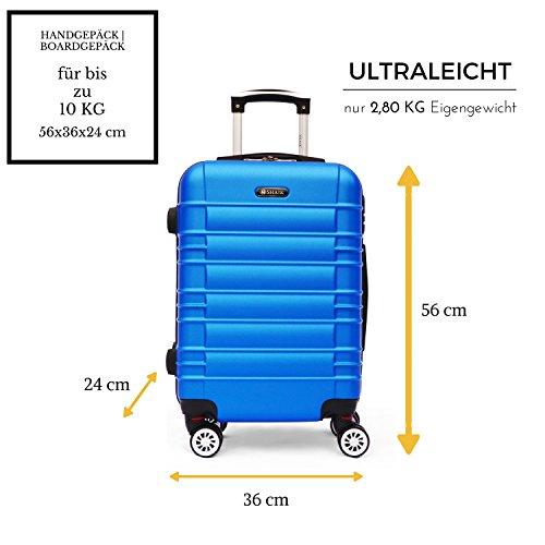 SHAIK SerieCLASSIC JFK Design Hartschalen Trolley, Koffer, Reisekoffer 4 Doppelrollen Zwillingsrollen, Zahlenschloss (Handgepäck, Dunkelblau) - 2