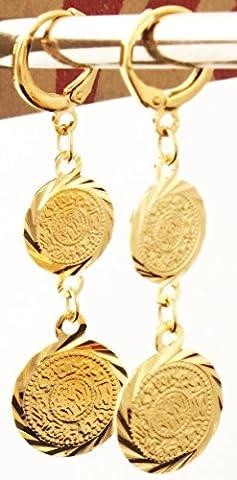 islamique musulman Acier inoxydable pour femme Filles Femme 2-coin Boucles d'oreilles plaqué or 18K inoxydable Cadeau pour Femme Allah Art du Coran Sourate Allah islamique Cadeau Sparkling eID El-fitr eID Al-adha Ramadan indiquant Oumra du jour de Arafah eID Al-ghadeer & # X644;