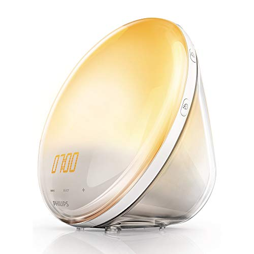 Philips Wake Up Light HF3520/01 - Despertador con 5 sonidos naturales, sistema autoajustable de la intensidad de luz, radio FM, digital