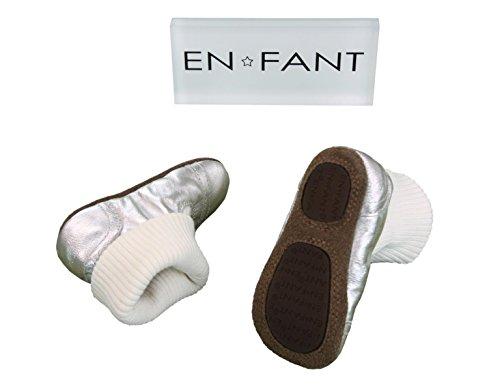 EN-FANT mixte chaussons chaussettes en cuir, marron chocolat, taille 18, 810170U-03 argent