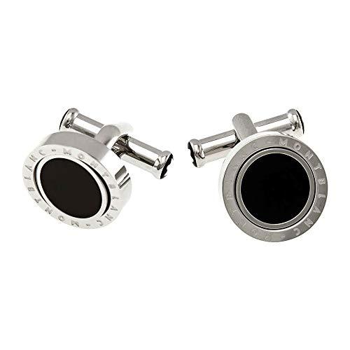 Montblanc Men's Cufflinks Steel Onyx Inlay 116664