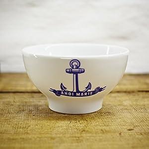 Porzellan Schale - Handgemacht von Ahoi Marie - Motiv Anker - Maritime Müsli-Schüssel (14cm) - Dessertschale original aus dem Norden