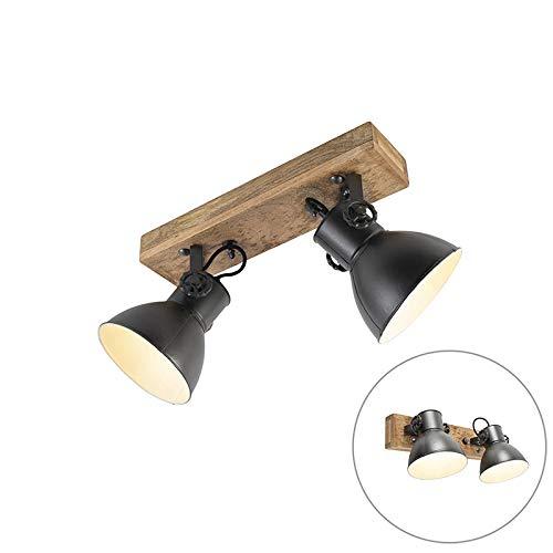 QAZQA Industrie/Industrial IndustrieSpot/Spotlight/Deckenspot/Deckenstrahler/Strahler/Lampe/Leuchte schwarz mit Mangoholz 2-flammig-hell - Mangos/Innenbeleuchtung/Wohnzimmerlampe/S