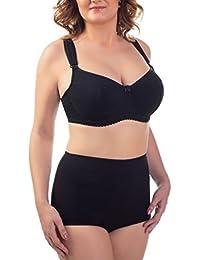 BaiBa Soutien-gorge classique de grossesse / d'allaitement avec armatures en coton en noir et blanc, tailles 95-135 D-M