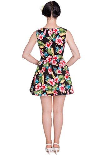 Hell Bunny MAUI Hawaii Vintage Blüten 2-Teiler KLEID Dress Rockabilly Schwarz mit bunten Hawaii Blüten