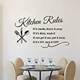WWYJN Kitchen Rules Wall Decal Removable Kitchen Quote Wall
