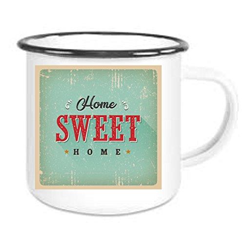 crealuxe Emaille Tasse mit Rand Vintage Nostalgie Motiv 1' - Kaffeetasse mit Motiv, Bedruckte...