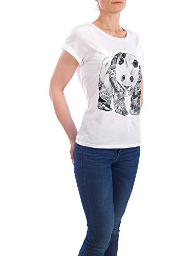 "Design T-Shirt Frauen Earth Positive ""Tattooed Panda"" - stylisches Shirt Tiere Geometrie von Tobe Fonseca Weiß"