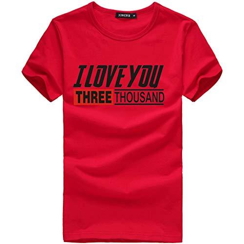 SANFAHSION Sport Shirt Herren Brief I Love You Druck Sommer Basic Sweatshirt Slim Fit Kurzarm Tee Fitness Tops - Print Schlaf Tee