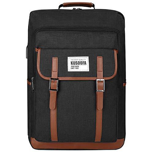 Business Laptop Rucksack, KUSOOFA Herren Schulrucksack 17,3 Zoll Notebook Computer Rucksacke mit USB-Ladeanschluss und Kopfhörerbuchse für Arbeit/Schule/ Reise - Schwarz