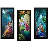 SAF Set of 3 Radha Krishna UV Coated Home Decorative Gift Item Framed Painting 17 inch X 24 inch