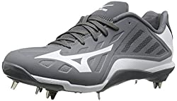 Mizuno Mens Heist IQ Baseball Cleat Grey / White 8.5 D(M) US