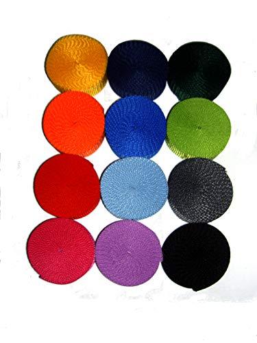 HH-NN-1968 25mm Gurtband Set (12x 2m Gurtband 25mm breit, 12 Farben) zur Herstellung von Schlüsselbändern & Taschen - ohne Rohlinge -