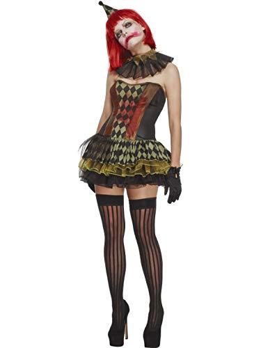 erdbeerclown - Damen Frauen Kostüm Gruseliger Horror Zombie Zirkus Clown mit Kragen Hut und Tutu Tütü Kleid, perfekt für Halloween Karneval und Fasching, L, Schwarz (Tutu Clown Kragen)