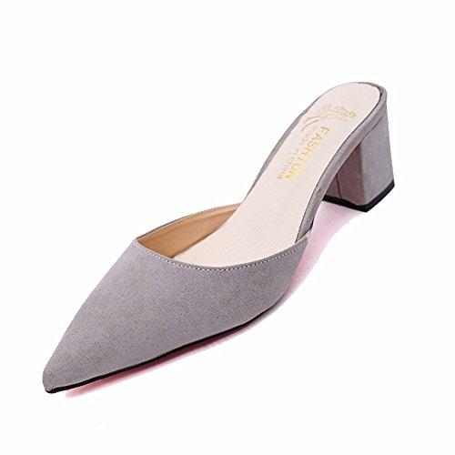 HOMEE Mesdames pantoufles Retro pointu en daim pied Kick Casual chaussures paresseuses 36 Eu
