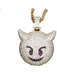 a2d46b4d0b43 LC8 Joyería Hip Hop Emoji Demon Colgante Collar Micro Pave Simulado  Diamante Iced out Bling Chapado en Oro 18K Cute Creative Punk Collar…