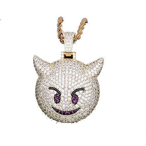 440e49967373 LC8 Joyería Hip Hop Emoji Demon Colgante Collar Micro Pave Simulado Diamante  Iced out Bling Chapado