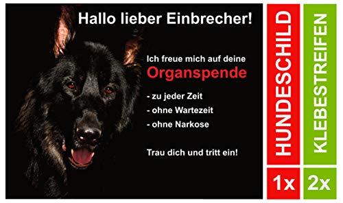 chäferhund Lustiges Türschild 20x15 cm Schwarz Schild Hund Aluminium Spruch Hundeschild Warnung Achtung (mit 2 Klebestreifen) ()