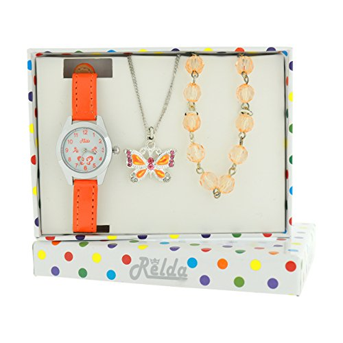 Relda Kids Butterfly Jewellery & Watch, Necklace & Bracelet Gift Set For Girls