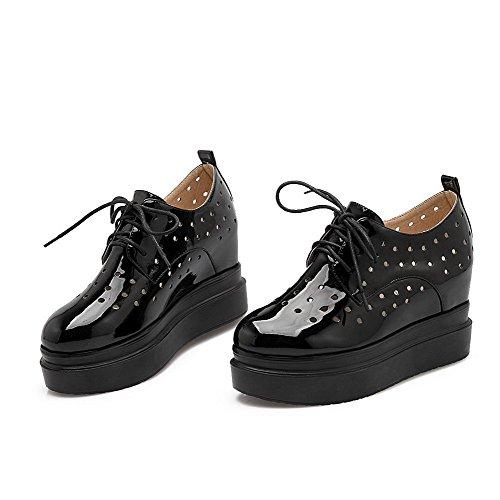 VogueZone009 Femme Lacet Pu Cuir Rond à Talon Haut Couleur Unie Chaussures Légeres Noir