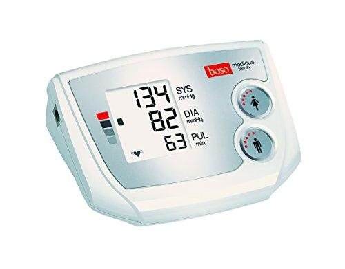 boso medicus family - Partner-Blutdruckmessgerät mit 2 Speicher-Plätzen, großem Display und Arrhythmie-Erkennung - Inkl. Universal-Manschette (22-42cm)