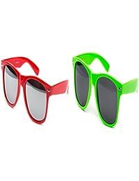 4 er Set EL-Sunprotect Clubmaster Classic Optik Sonnenbrille - UV400 Brille Premium Qualität - schwarz weiß grün - blau feuer gelb lila verspiegelt 28cBb8
