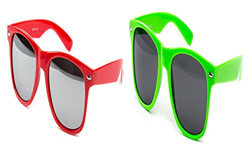 e Nerdbrille Nerd Brille Retro Party Rot Verspiegelt Neon Grün (Neon Party Sonnenbrille)