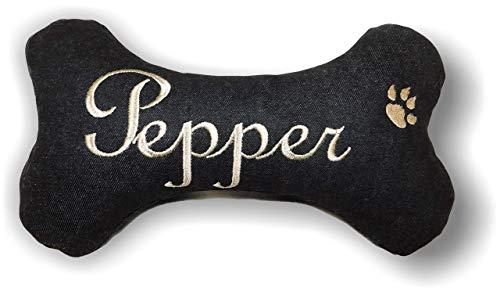 LunaChild Handmade Hunde Spielzeug natürliche Materialien Kissen Knochen Hundeknochen Quietscher schwarz bestickt mit Name Wunschname Unikat Geschenk personalisiert XXS XS S M L XL oder XXL -