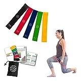 Bandas Elásticas Fitness| Gomas Elásticas para musculación, pilates y yoga|Set de 5 mini bands para todo tipo de entrenamiento y ejercicios |cintas tensoras para fisioterapia |ligas elasticas glúteos