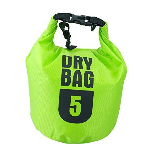 Premium 3L/5L/10L Outdoor impermeabile Dry Bag Sacco con tracolla regolabile, ideale per attività all' aperto/Sport acquatici, Green, 5 litri - Sport e all'aperto Attrezzature per attività all'aperto