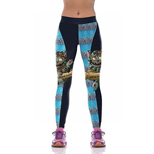 D Halloween Yoga Hosen Weibliche Digitaldruck Blutige Katze Muster Outdoor Laufhose Leggings, S ()