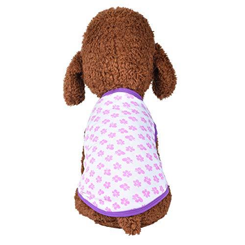 Notdark Haustier Hund Baumwoll Bequem Shirt für Kleine Hunde Kleidung Kleiden Blume Muster Weste Kostüme WelpeTeddy Bekleidung (L,Violett) -