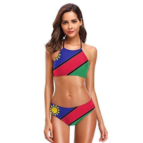 Metallic Schiere Bh (Namibia Flagge Sun Damen Crop Top Bikini Set mit hoher Taille Zweiteiler Badeanzug L)