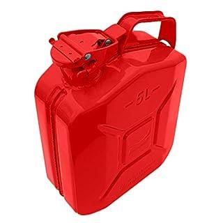 STEL 5 Litre Red Metal Fuel Tank Jerry Can Gasoline Diesel Petrol